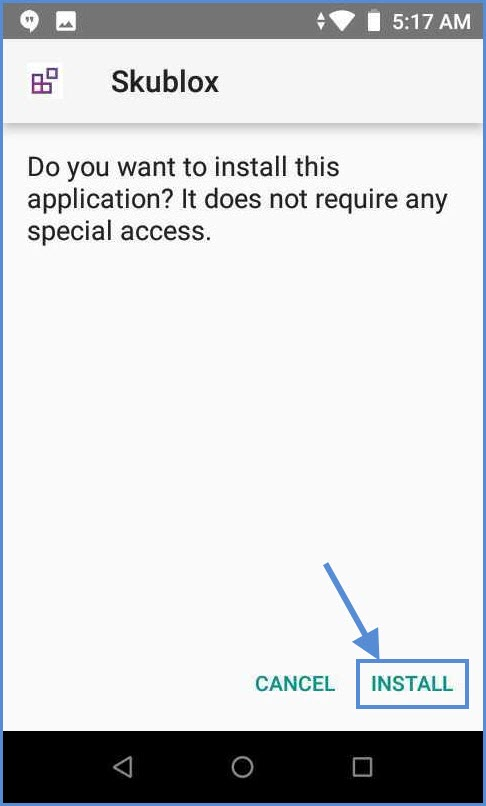 Button to install mobile application