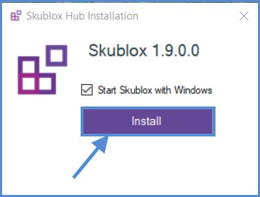 Button to Install Skublox Hub Application