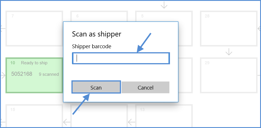 Enter Shipper barcode