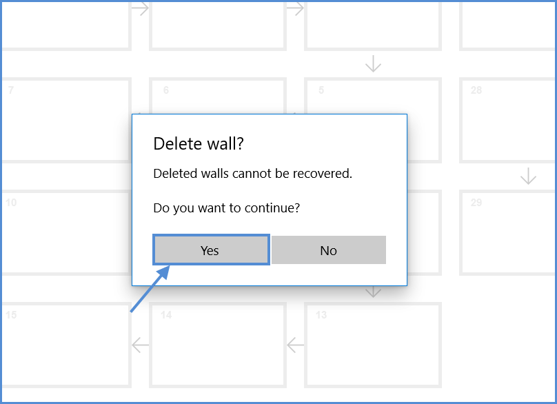 Confirmation to delete wall