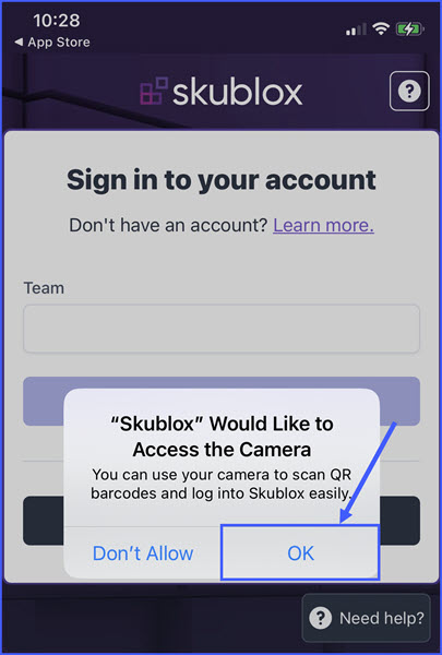 skublox ios mobile app access to camera